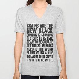 Brains are the new black Unisex V-Neck