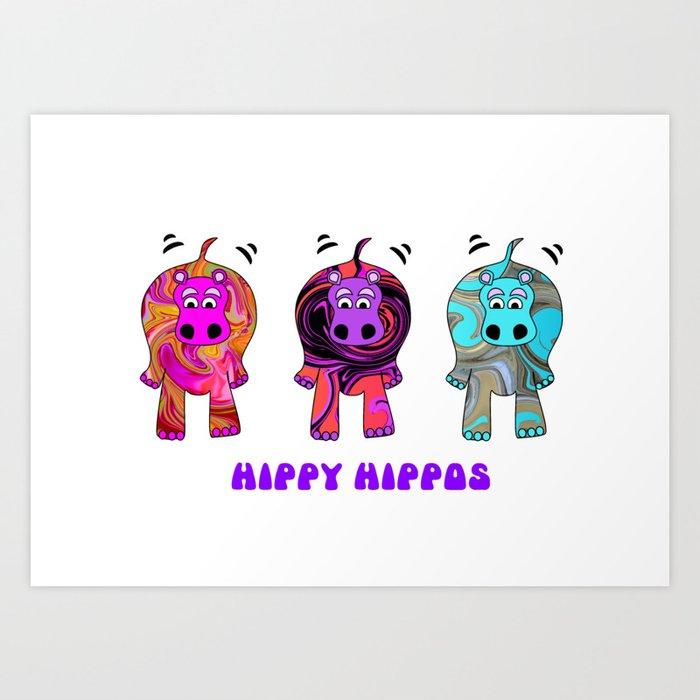 Hippy Hippie Hippos Art Print