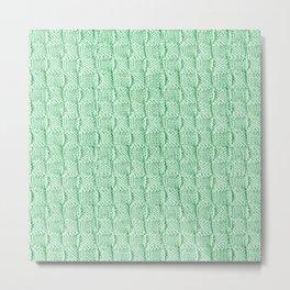 Soft Green Knit Textured Pattern Metal Print