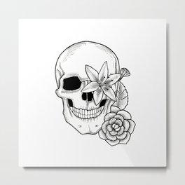 Skull Flower Metal Print