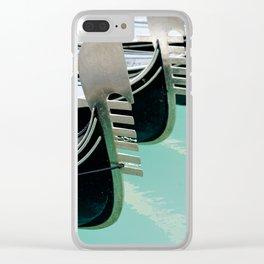 Venetian gondolas, perspective row arrangement, nose front decoration Clear iPhone Case