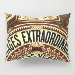 Jules Verne Voyages Extraordinaire Red Lithographic Print by Jeanpaul Ferro Pillow Sham