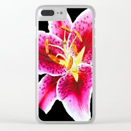 FUCHSIA PINK ASIATIC LILY FLOWER BLACK Clear iPhone Case