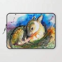 Baby Deer Sleeping - After My Original Watercolor On Heavy Paper Laptop Sleeve