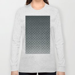 PPG Night Watch Pewter Green Gradient Gingham Square, Ombre Checker Board Pattern Long Sleeve T-shirt