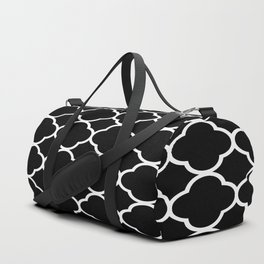 Black & White Moroccan Quatrefoil Design Duffle Bag