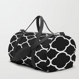 Black & White Moroccan Quatrefoil Design Duffle Bag