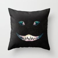 cheshire Throw Pillows featuring Cheshire by EtOfficina