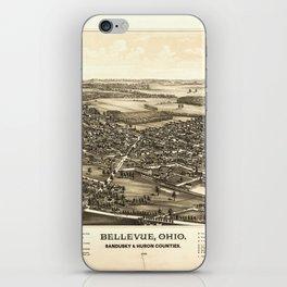 Aerial View of Bellevue Ohio Sandusky & Huron counties (1888) iPhone Skin
