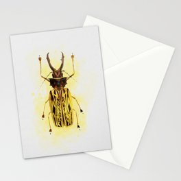Yellow Colorful Beetle Watercolor painting Insect Animal Stationery Cards