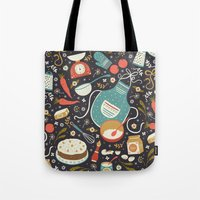 coasters Tote Bags featuring Carrot Cake by Anna Deegan