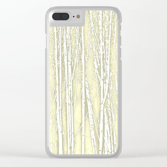 Birch Trees Pattern Soft Moss Clear iPhone Case