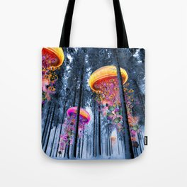 Winter Forest of Electric Jellyfish Worlds Tote Bag