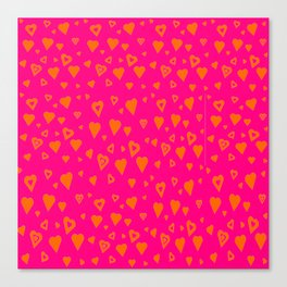 Hot Pink with lots of orange hearts Canvas Print