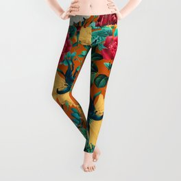 Orange Garden Leggings