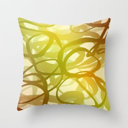 Abstract circling lines red and green  Throw Pillow