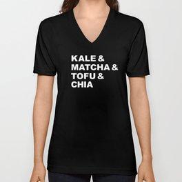 kale matcha tofu vegan healthy food typography gift Unisex V-Neck