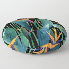 Watercolor Painting Tropical Bird of Paradise Plants large Floor Pillow
