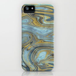 Liquid Teal and Gold iPhone Case