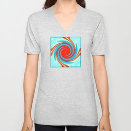 Colorful red and blue spiral swirling elliptical constellation star galaxy abstract design Unisex V-Neck