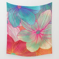 orange Wall Tapestries featuring Between the Lines - tropical flowers in pink, orange, blue & mint by micklyn