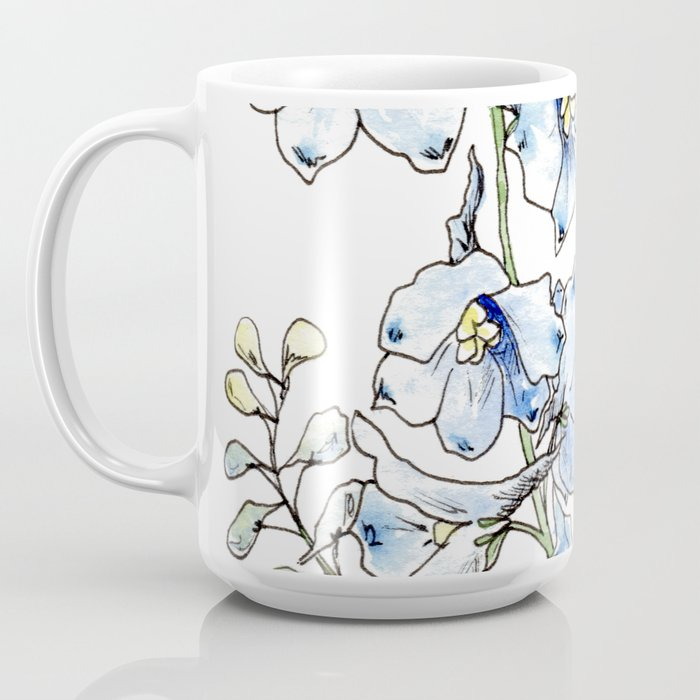 Blue Delphinium Flowers Coffee Mug