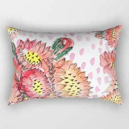 Orange Cacti Flowers Rectangular Pillow
