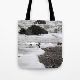 Birds in the Waves Tote Bag