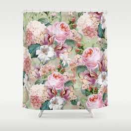 Vintage & Shabby Chic -Blush Pink Botanical Spring Roses Garden  Shower Curtain