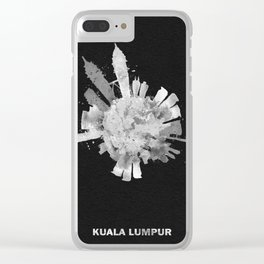 Kuala Lumpur, Malaysia Black and White Skyround / Skyline Watercolor (Inverted Version) Clear iPhone Case