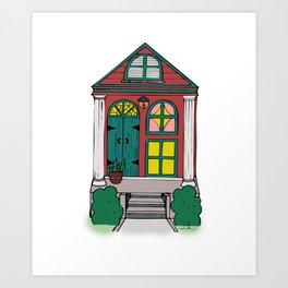 New Orleans Shotgun House - Red Art Print