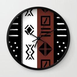 Black White Brown African Kente Pattern Wall Clock