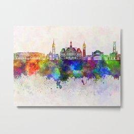 Limoges skyline in watercolor background Metal Print
