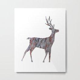 deer silhouette stag pine bark Metal Print