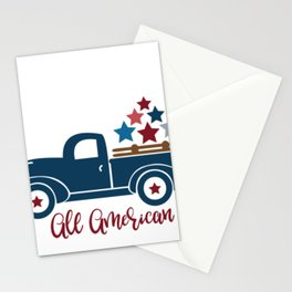 Indepence Day All American Pickup Truck July 4th Shirt Stationery Cards
