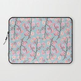 Cherry Blossom Pattern on Sky Blue Laptop Sleeve