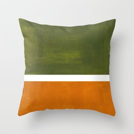 Olive Green Yellow Ochre Minimalist Abstract Colorful Midcentury Pop Art Rothko Color Field Throw Pillow