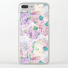 Pastel Purple and blue Lilac & Hydrangea - Flower Design Clear iPhone Case