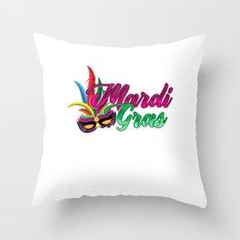 Mardi Gras Street Party Carnival Festival Gift Throw Pillow
