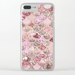 Rose Gold Blush Glitter Ombre Mermaid Scales Pattern Clear iPhone Case