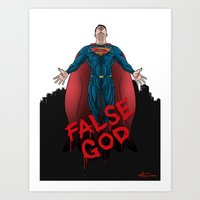 superheros Art Prints featuring FALSE GOD. by KODYMASON