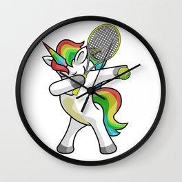 Dabbing Unicorn Tennis Funny Dancing Dab Gift Wall Clock