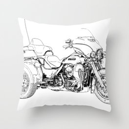 Motorcycle art, black and white portrait Throw Pillow