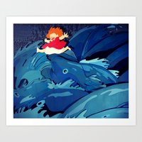 ponyo Art Prints featuring Ponyo by The Art of Sandy Lau
