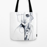 sale Tote Bags featuring Sketch V by Holly Sharpe