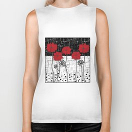 Retro. Red poppies on white background sulfur. Applique. Biker Tank