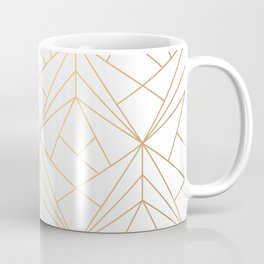 Geometric Gold Pattern With White Shimmer Kaffeebecher