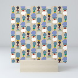 Colorful retro pebble stones tower pattern Mini Art Print