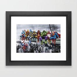 Superhero Lunch Atop A Skyscraper Framed Art Print