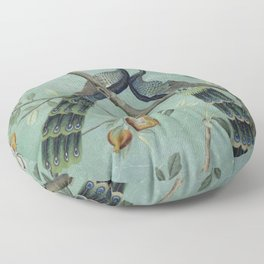 A Teal of Two Birds Chinoiserie Floor Pillow